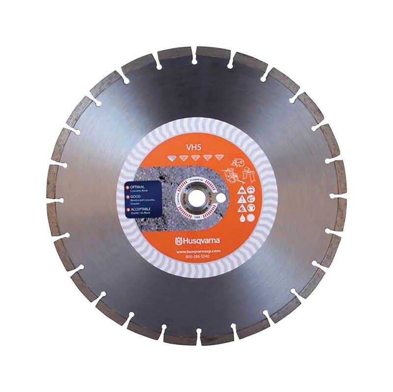 Husqvarna  Tacti-Cut  Diamond  VH5  0.118 in. thick  1 in./20 mm  1 pk Segmented Rim Diamond Saw Bla