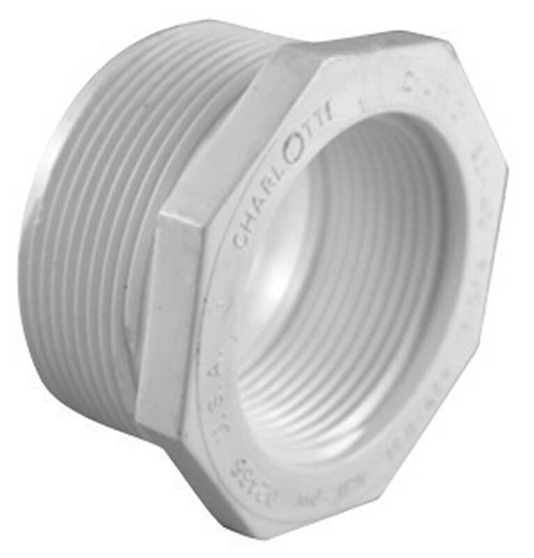 Charlotte Pipe  Schedule 40  1-1/2 in. MPT   x 1-1/4 in. Dia. FPT  PVC  Reducing Bushing