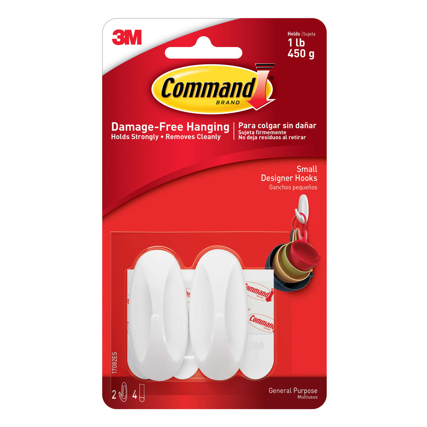 3M  Command  Small  Plastic  Hook  2-1/8 in. L 2 pk