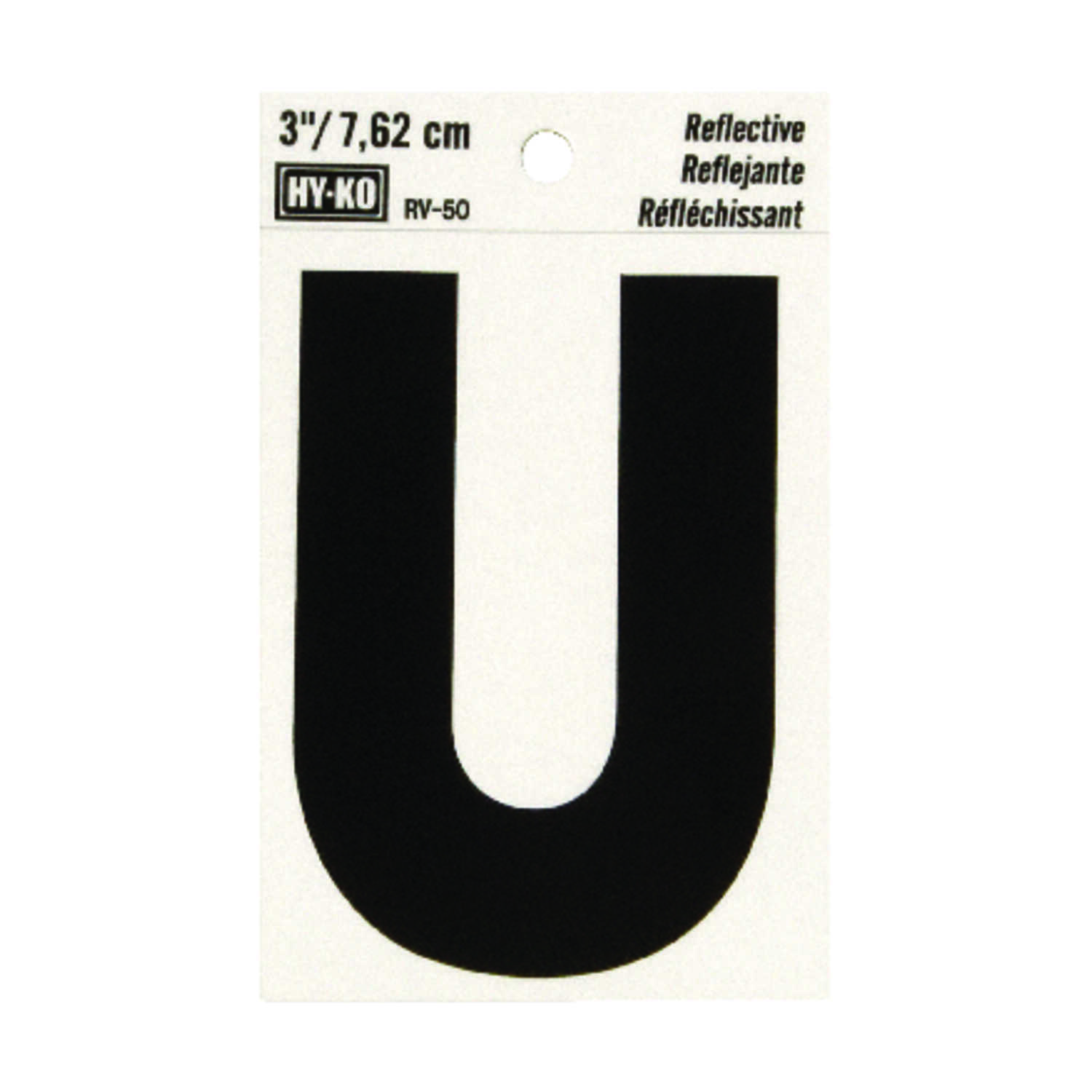 Hy-Ko  3 in. Reflective Black  Vinyl  Letter  U  Self-Adhesive  1 pc.