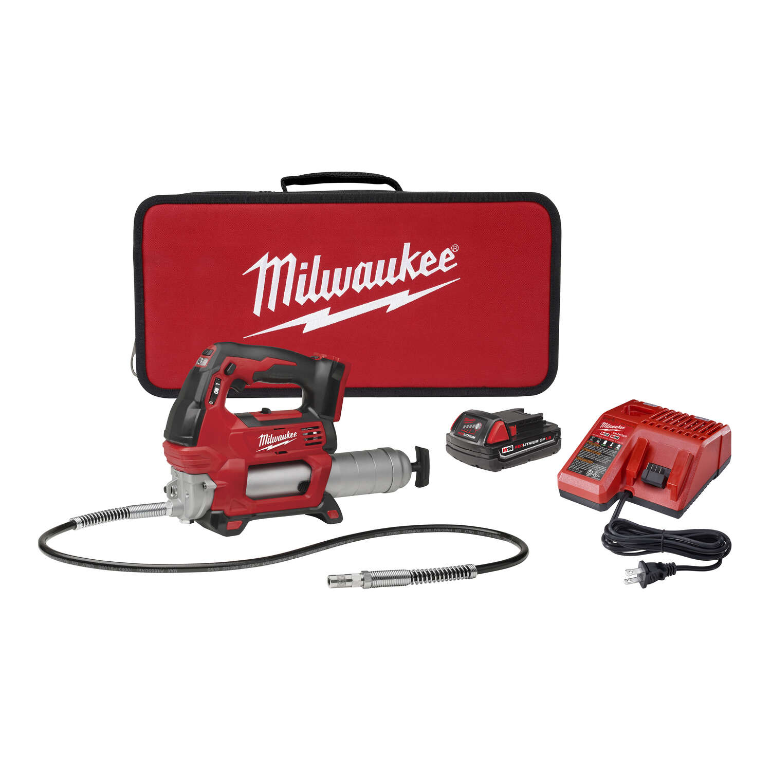 Milwaukee  M18  Metal  Cordless Electric  Grease Gun Kit  14 oz.