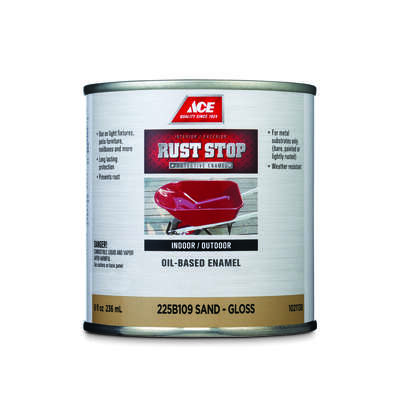 Ace  Rust Stop  Indoor/Outdoor  Gloss  Sand  Oil-Based Enamel  Rust Preventative Paint  1/2 pt.