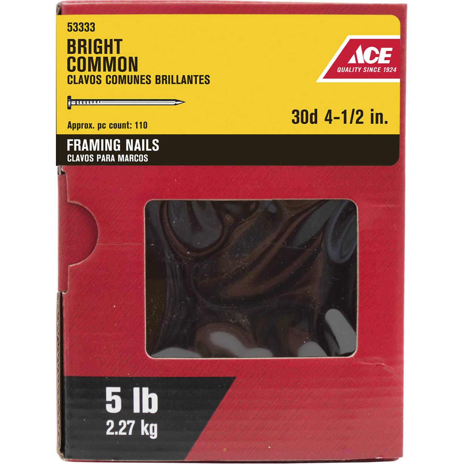 Ace  30D  4-1/2 in. L Box  Steel  Nail  Flat  Smooth Shank  1  5 lb.