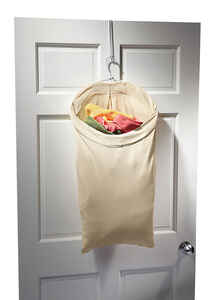 Homz  Beige  Canvas  Over The Door Hanging Hamper