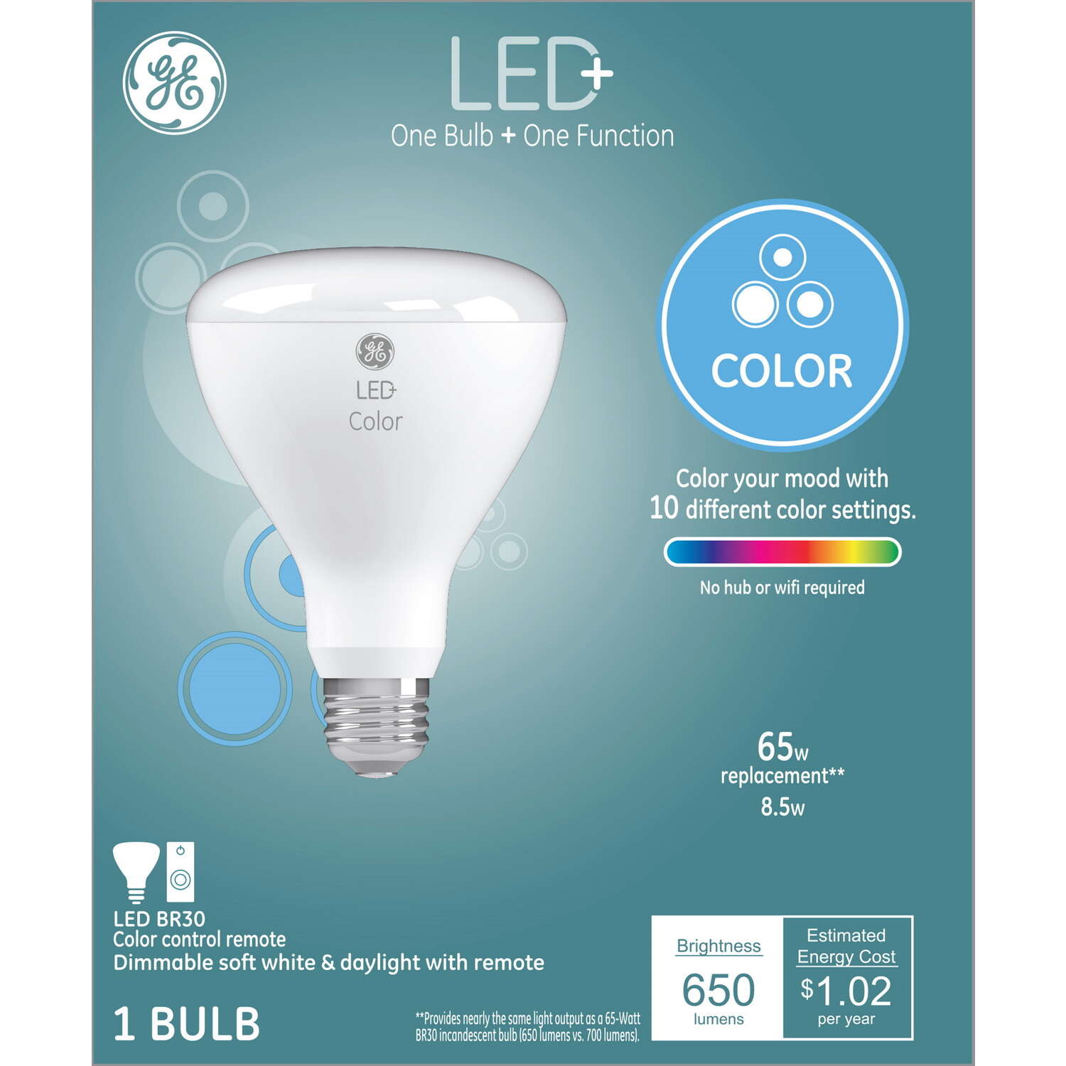 GE Lighting  LED+  BR30  E26 (Medium)  LED Smart Bulb  Color Changing  65 Watt Equivalence 1 pk