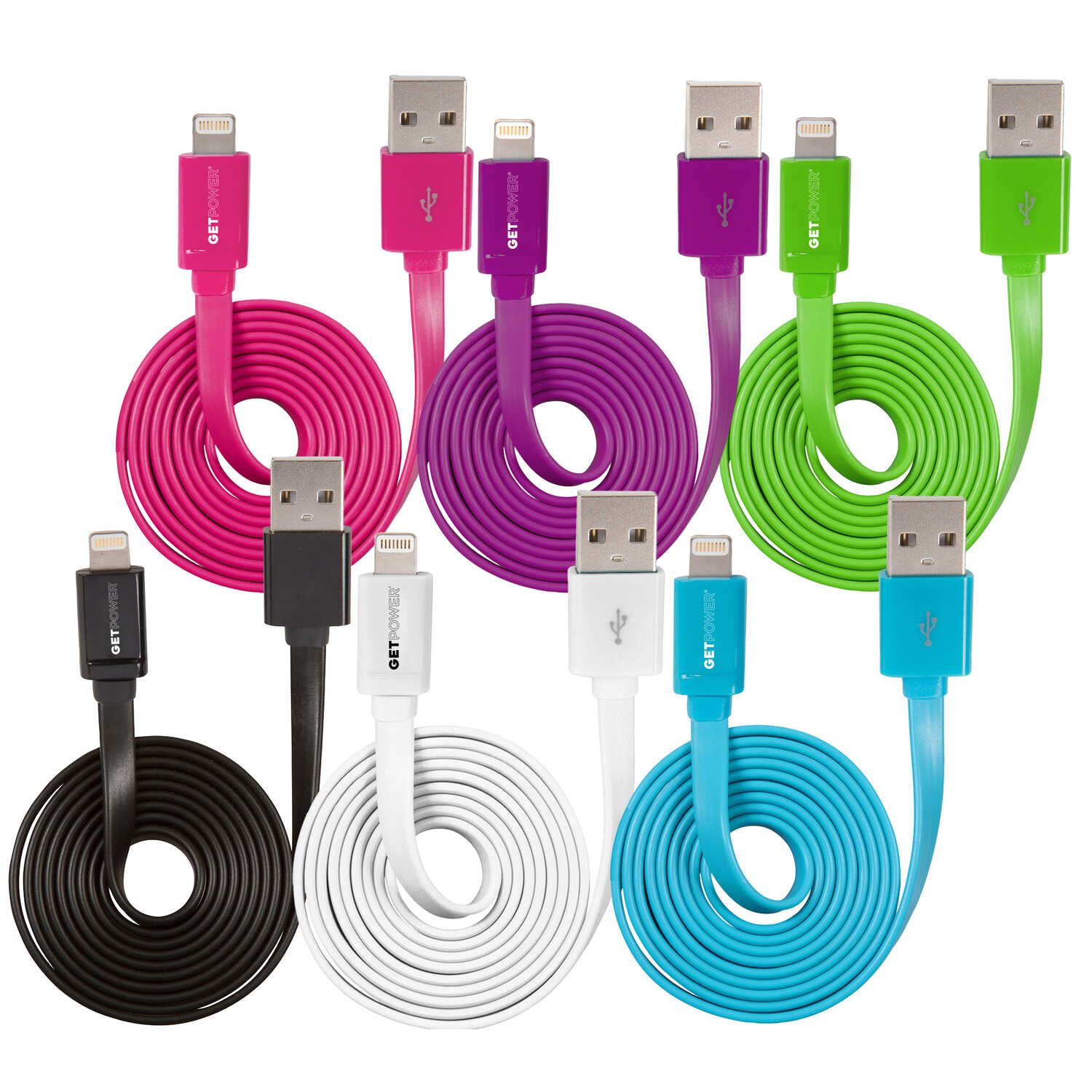 Get Power  Multicolored  Lightning Cable  3 ft. L