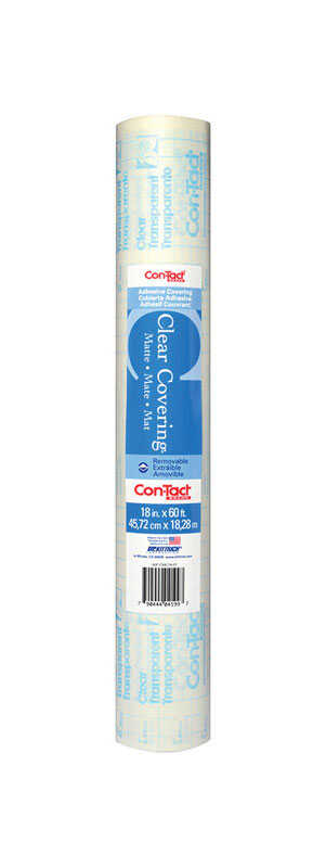 Con-Tact  Clear Covering  60 ft. L x 18 in. W Clear  Self-Adhesive  Liner