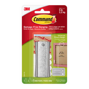3M  Command  Steel-Plated  Silver  Universal Picture  Picture Hanging Kit  5 lb. 1 pk 5 lb. Large  M