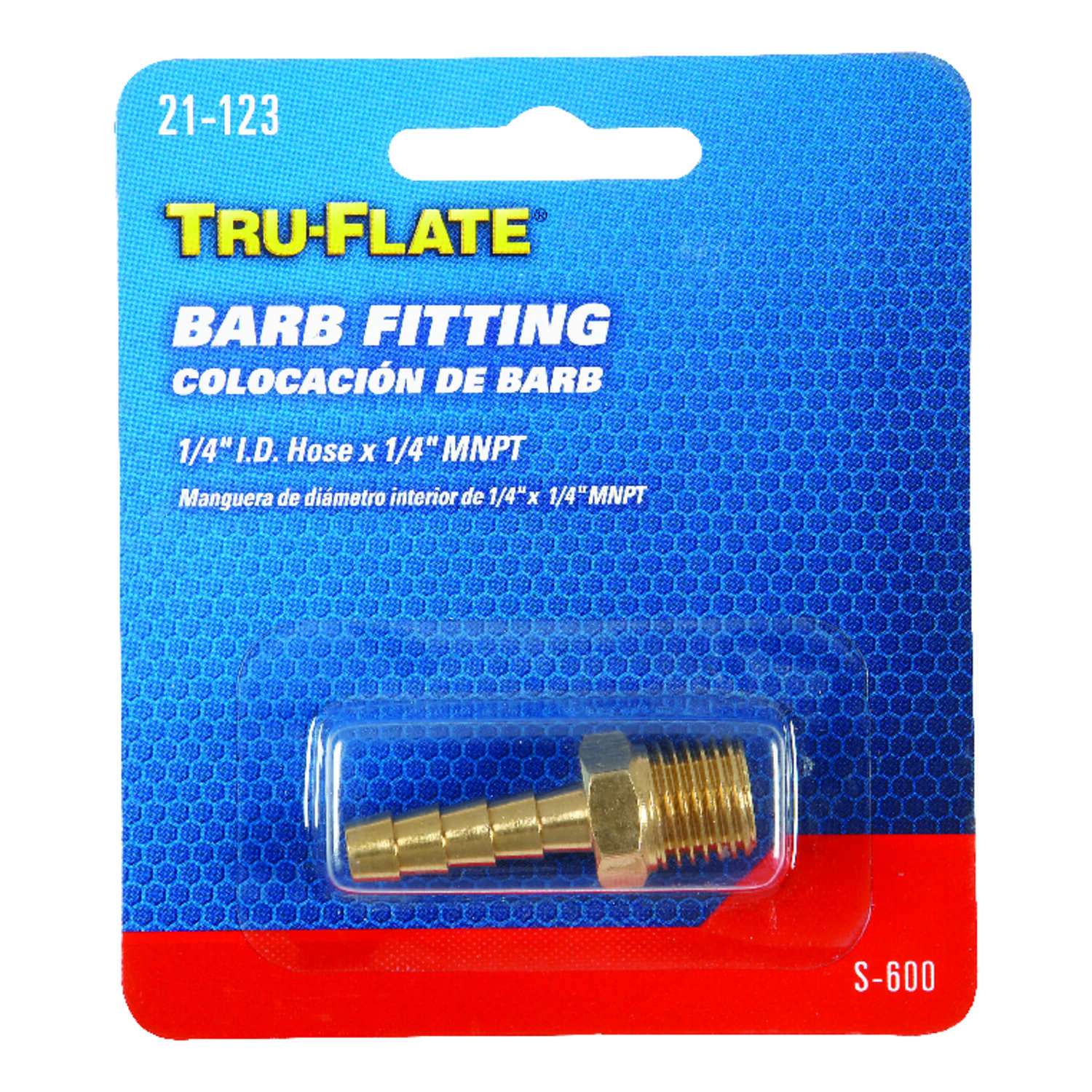 Tru-Flate Brass Barb Hose Fitting 1/4 in. Male 1 pc.