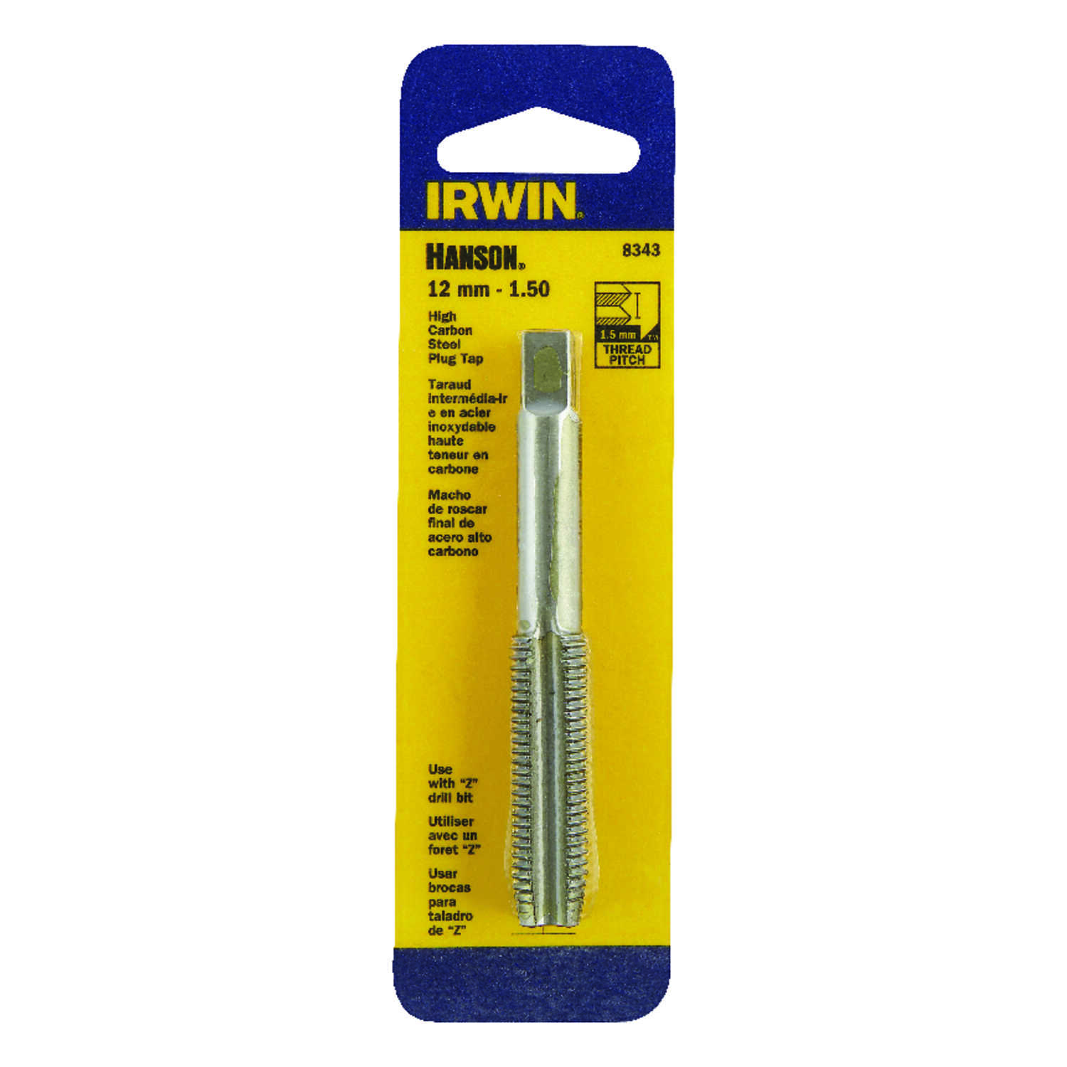 Irwin  Hanson  High Carbon Steel  Metric  Plug Tap  12mm-1.50  1 pc.