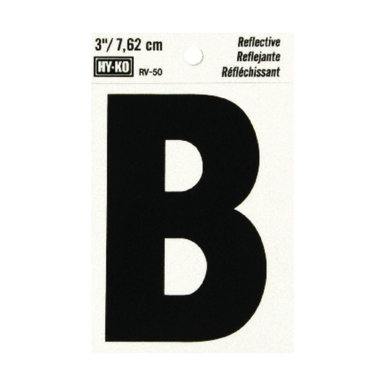 Hy-Ko  3 in. Reflective Black  Vinyl  Letter  B  Self-Adhesive  1 pc.