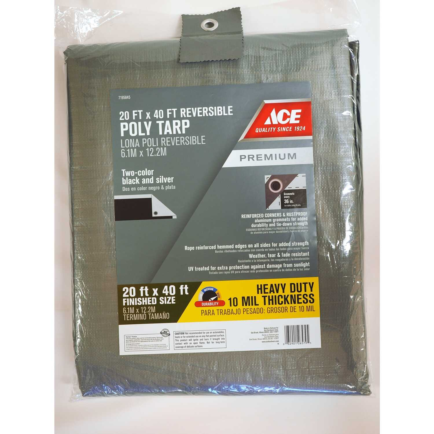 Ace  20 ft. W x 40 ft. L Heavy Duty  Tarp  Black/Silver  Polyethylene