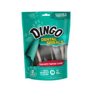 Dingo  Dental Spiral Treats  Parsley and Peppermint  Dog  Dental Stick  7 pk 6 ounce