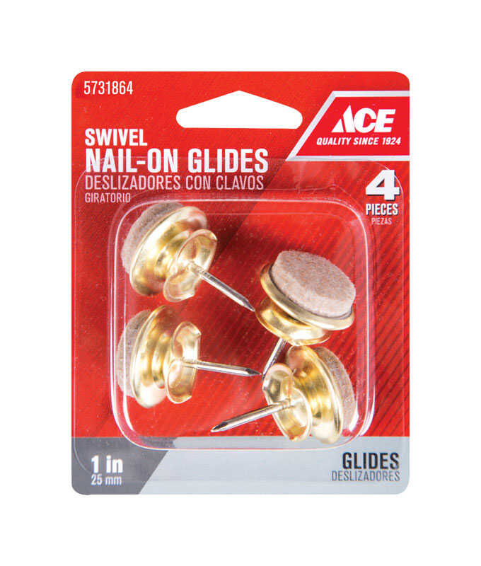 Ace  Felt  Nail-On Heavy Duty Glide  Tan  Round  1 in. W 4 pk