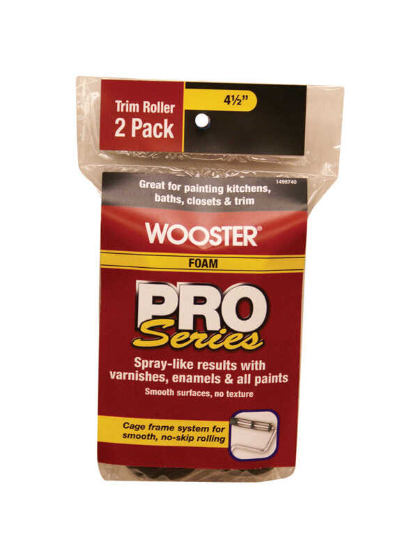Wooster  Pro Series  Foam  4-1/2 in. W Trim  Paint Roller Cover  For Semi-Rough Surfaces 2 pk