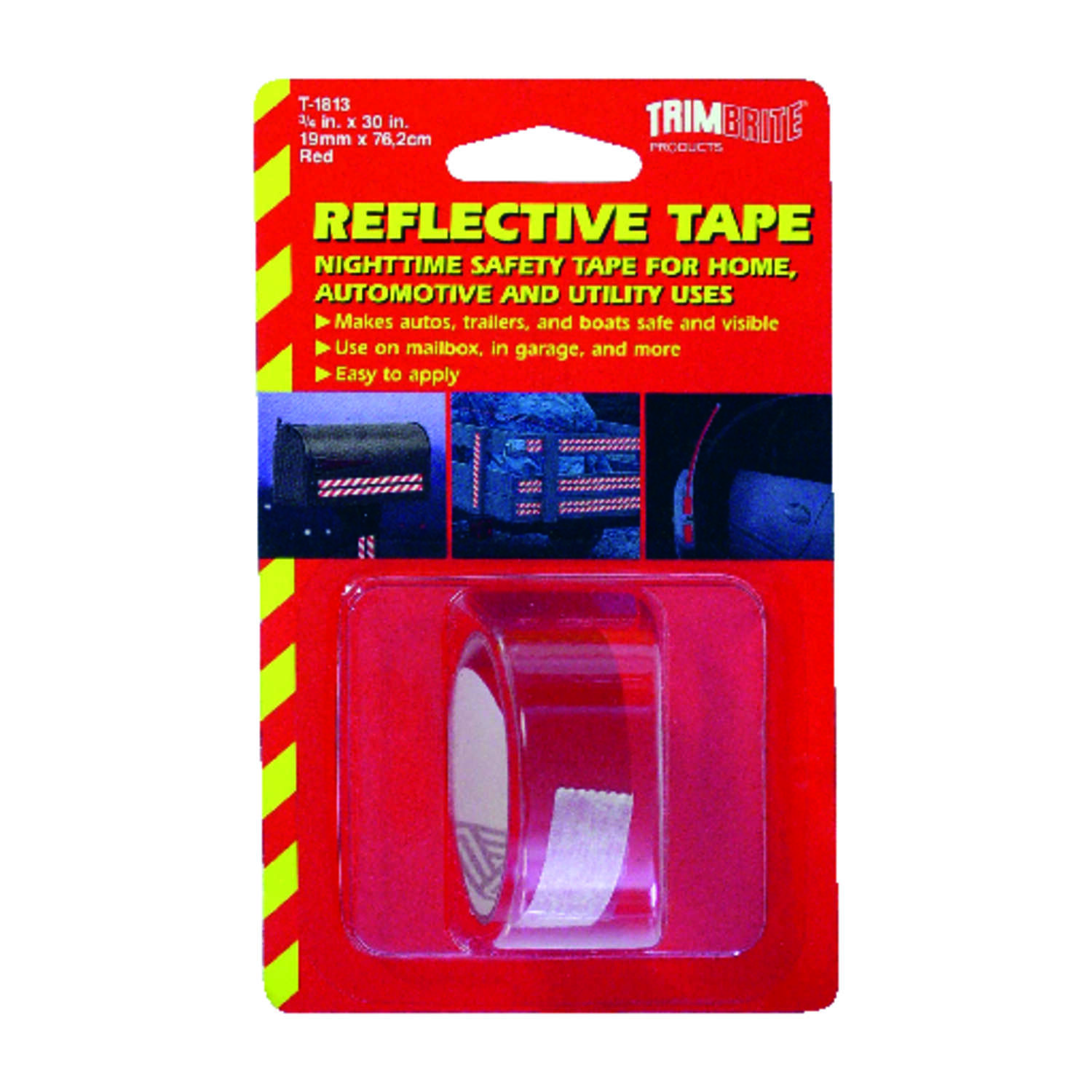 Trim Brite 30 in. W x 0.75 in. L Red Reflective Tape 1 pk