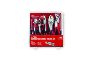 Ace  10 pc. Carbon Steel  Pliers and Wrench Set  Black/Red