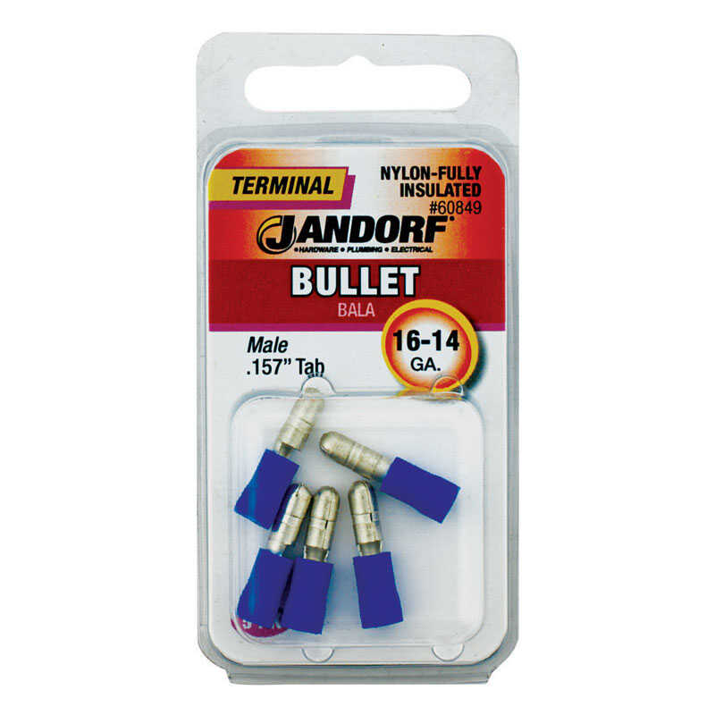 Jandorf  16-14 Ga. Insulated Wire  Male Bullet  Blue  5 pk