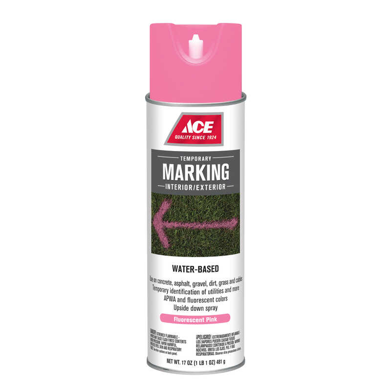 Ace  Water-Based  Fluorescent Pink  17 oz. Field Marking Chalk