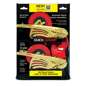 Quickloader  12 ft. L Tie Down w/Ratchet  Red  500 lb.