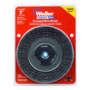 Weiler  6 in. Crimped  Wire Wheel Brush  Carbon Steel  6000 rpm 1 pc.