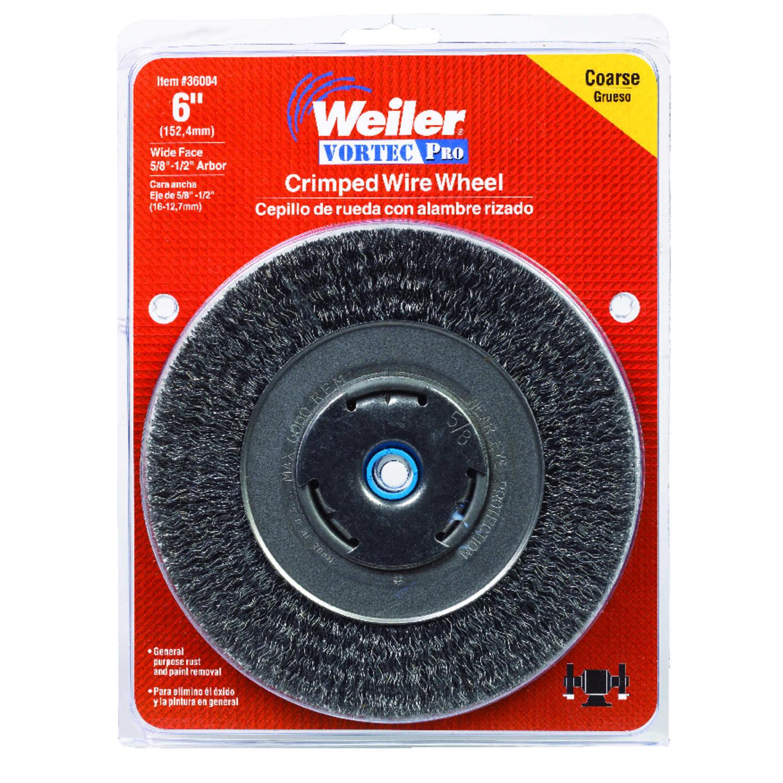 Weiler Vortec Pro 6 in  Crimped Wire Wheel Brush Carbon Steel 6000