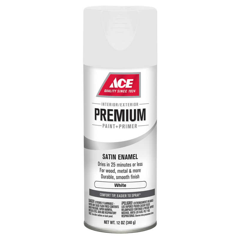 Ace  Premium  Satin  White  Satin  12 oz. Enamel Spray Paint