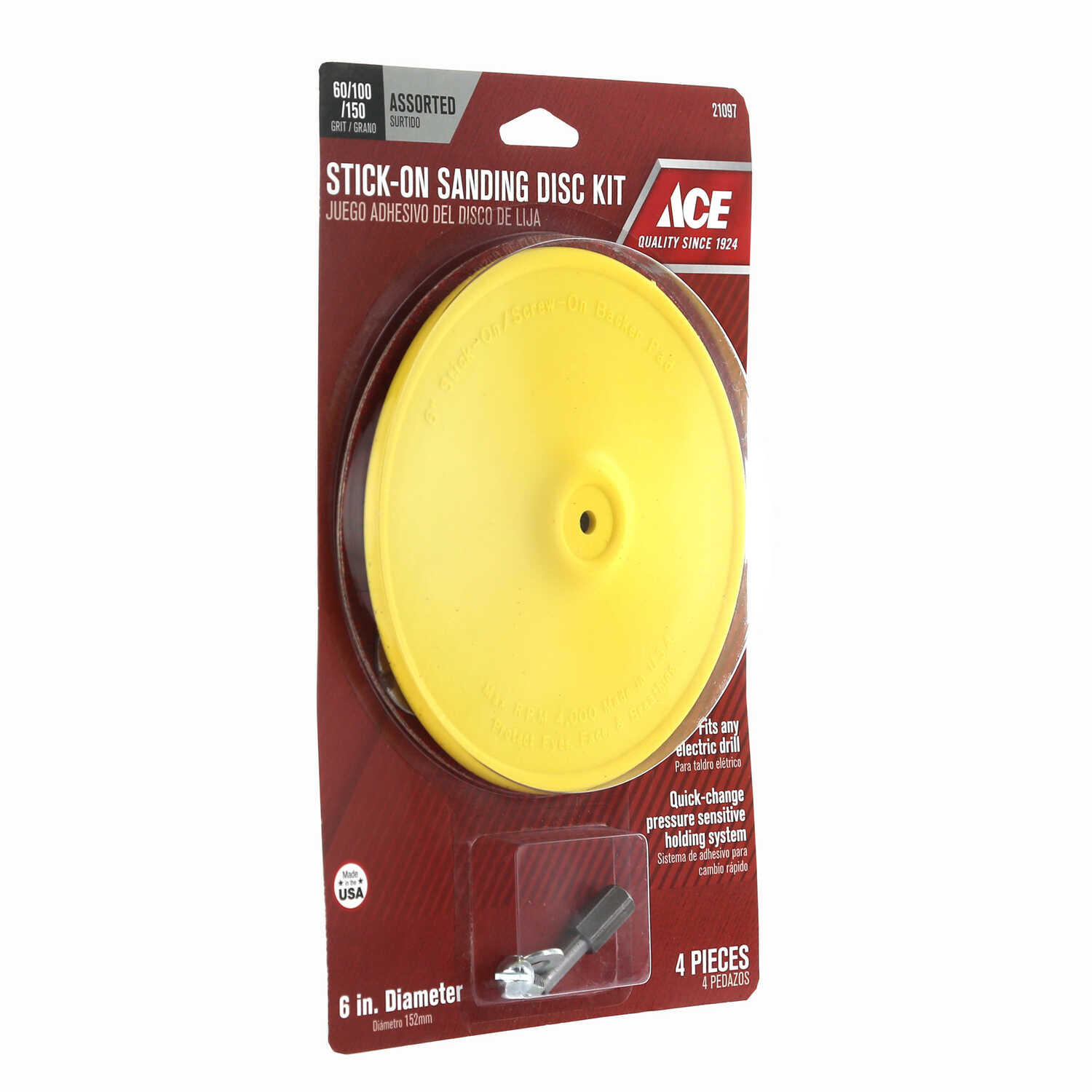 Ace  1/4 in.   Plastic  Backing Pad  3000 rpm 1 pk