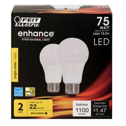 FEIT Electric  Enhance  A19  E26 (Medium)  LED Bulb  Bright White  75 Watt Equivalence 2 pk