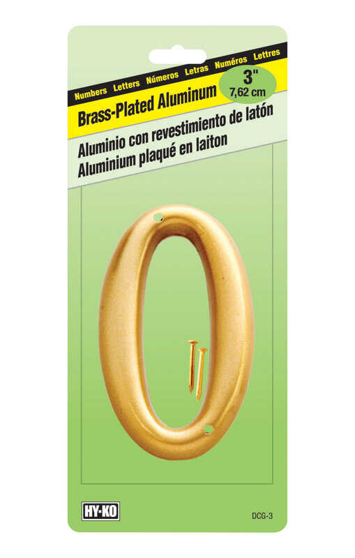Hy-Ko  3 in. Brass Plated  Number  Nail-On  Aluminum  0