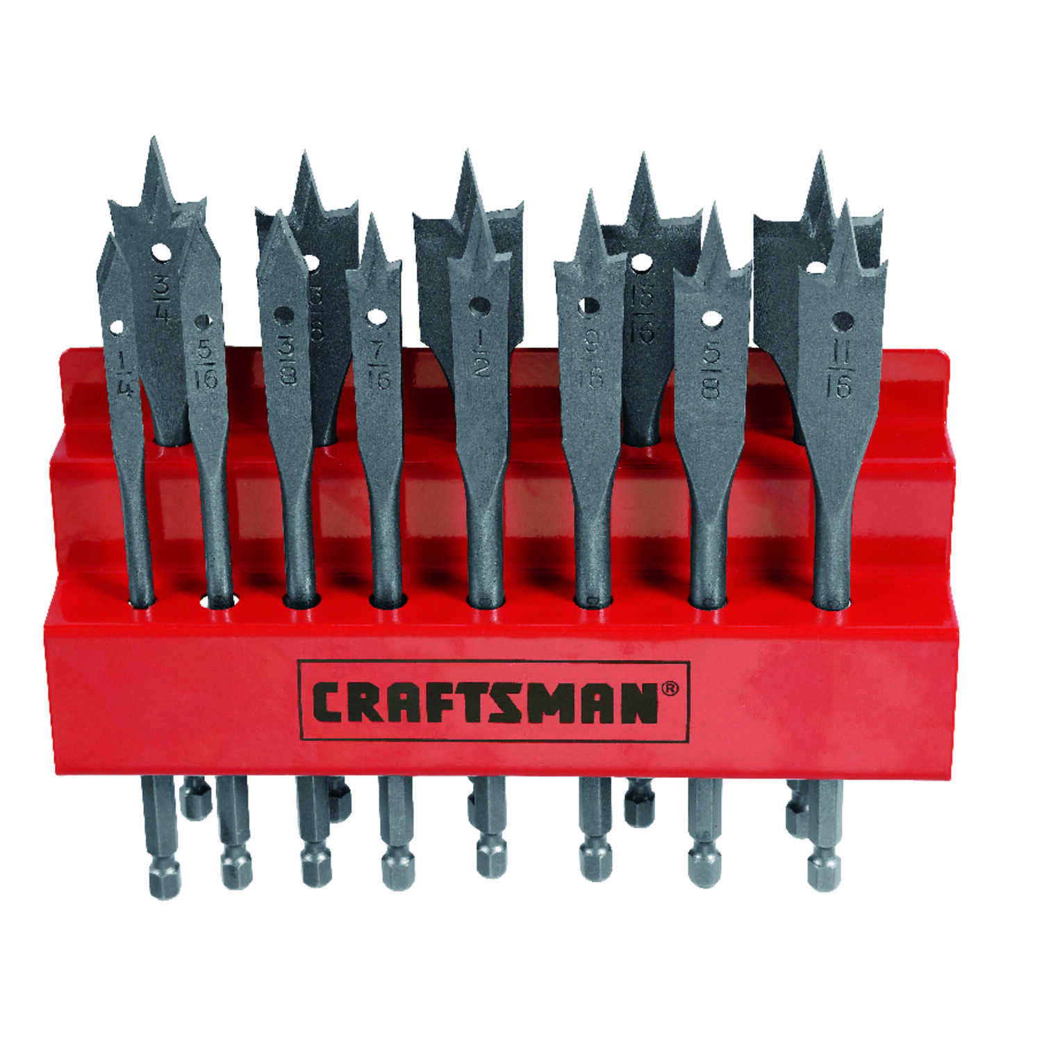 Craftsman  Multi Size in. Dia. x 1/4 inch  L Steel  Hex Shank  13 pc. Spade Bit Set