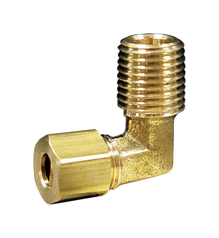 JMF  5/16 in. Dia. x 1/8 in. Dia. Compression To MPT To Compression  90 deg. Yellow Brass  Elbow