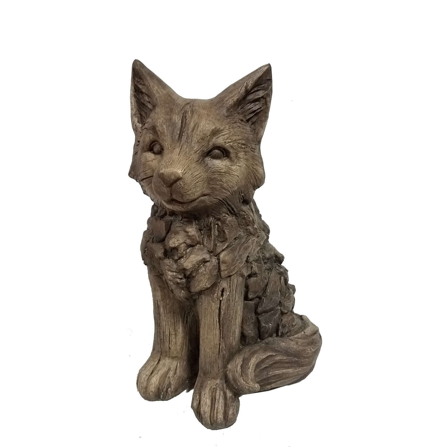 Infinity  Cement  Brown  16.54 in. Fox  Statue