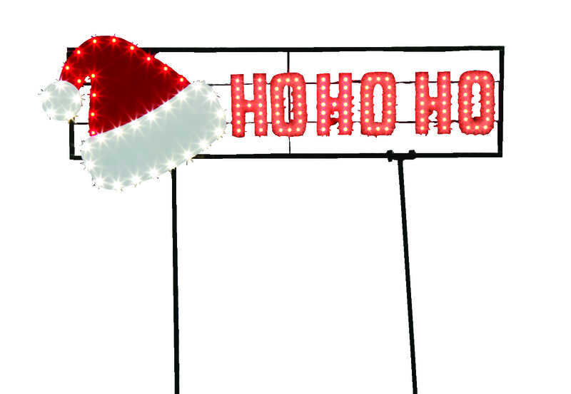 Santa's Best  LED Hat/Ho Ho Ho  Christmas Sign  Plastic  Red/White  1 pk