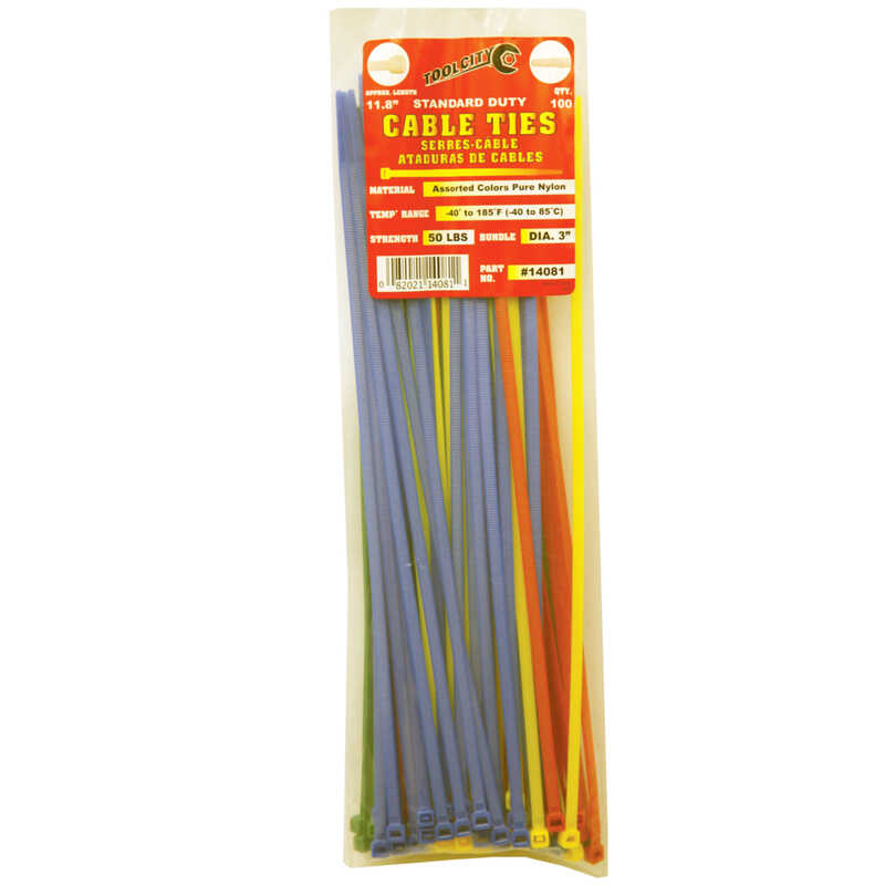 Tool City  11.8 in. L Cable Tie  Assorted  100 pk