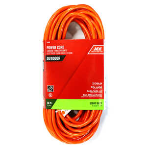 Ace  Indoor and Outdoor  50 ft. L Orange  Extension Cord  16/3 SJTW