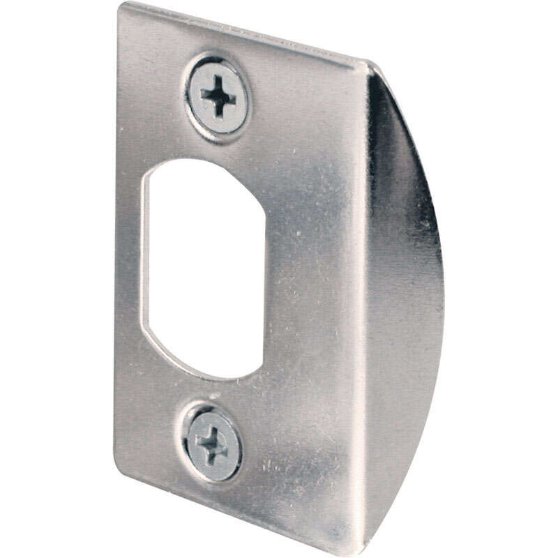 Prime-Line 2-1/4 in. H x 1-7/16 in. L Chrome Steel Latch Strike Plate