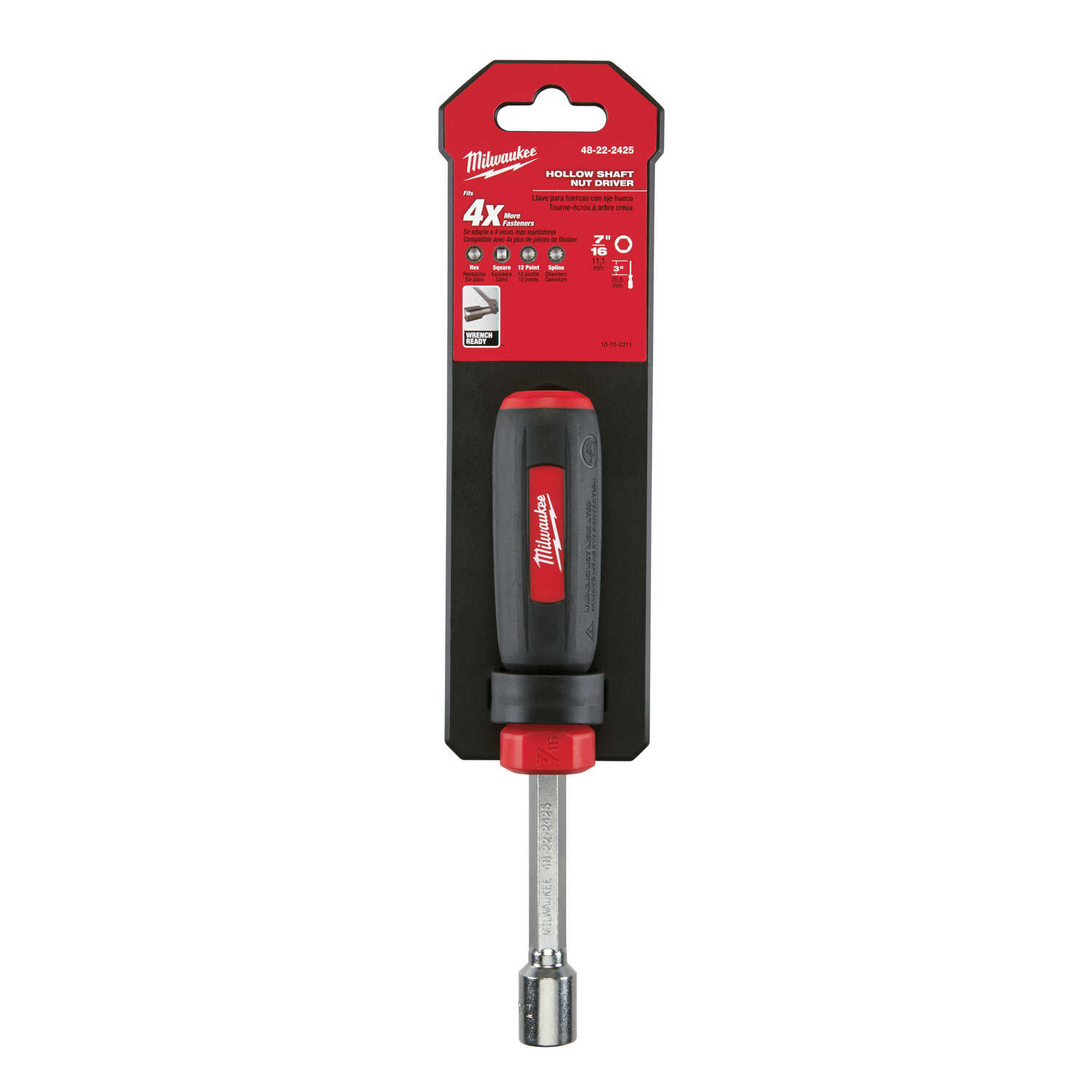 Milwaukee  7/16 in. SAE  Hollow Shaft Nut Driver  7 in. L 1 pc.