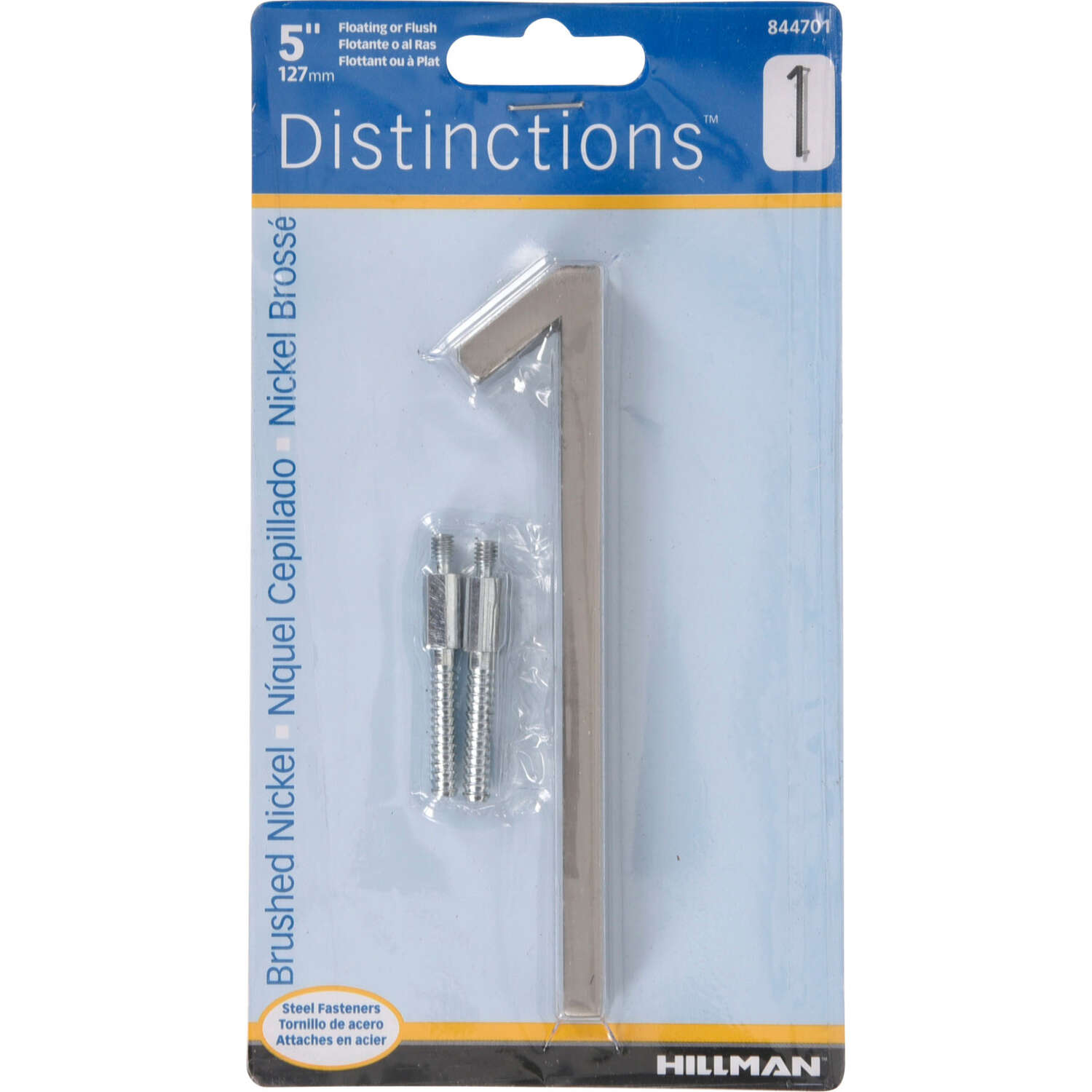 Hillman  Distinctions  5 in. Silver  Brushed Nickel  Screw-On  Number  1  1 pc.