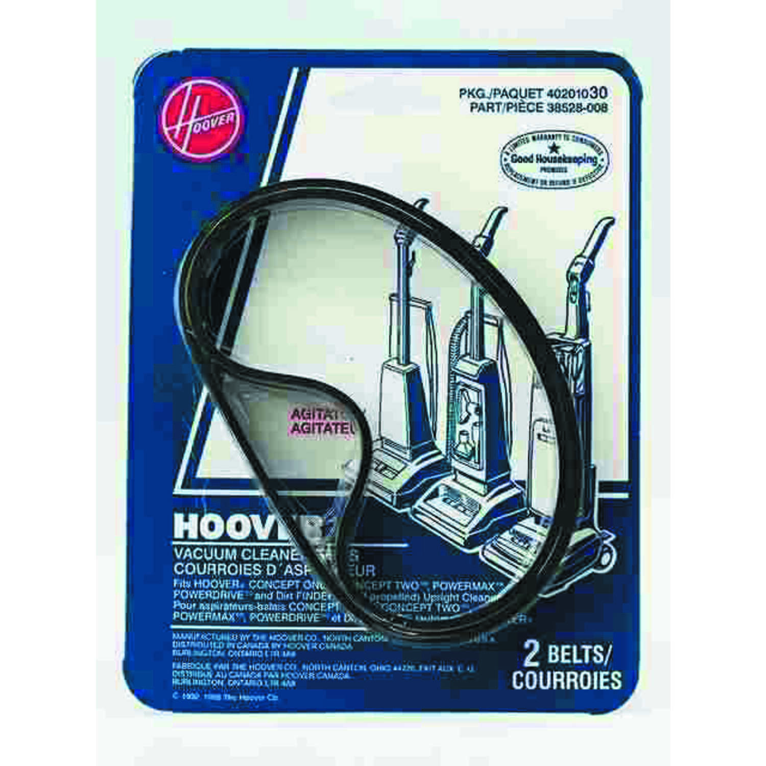 Hoover Concept One Vacuum Belt Fits all Concept One , Two and Power Max uprights Peggable Polybag 2