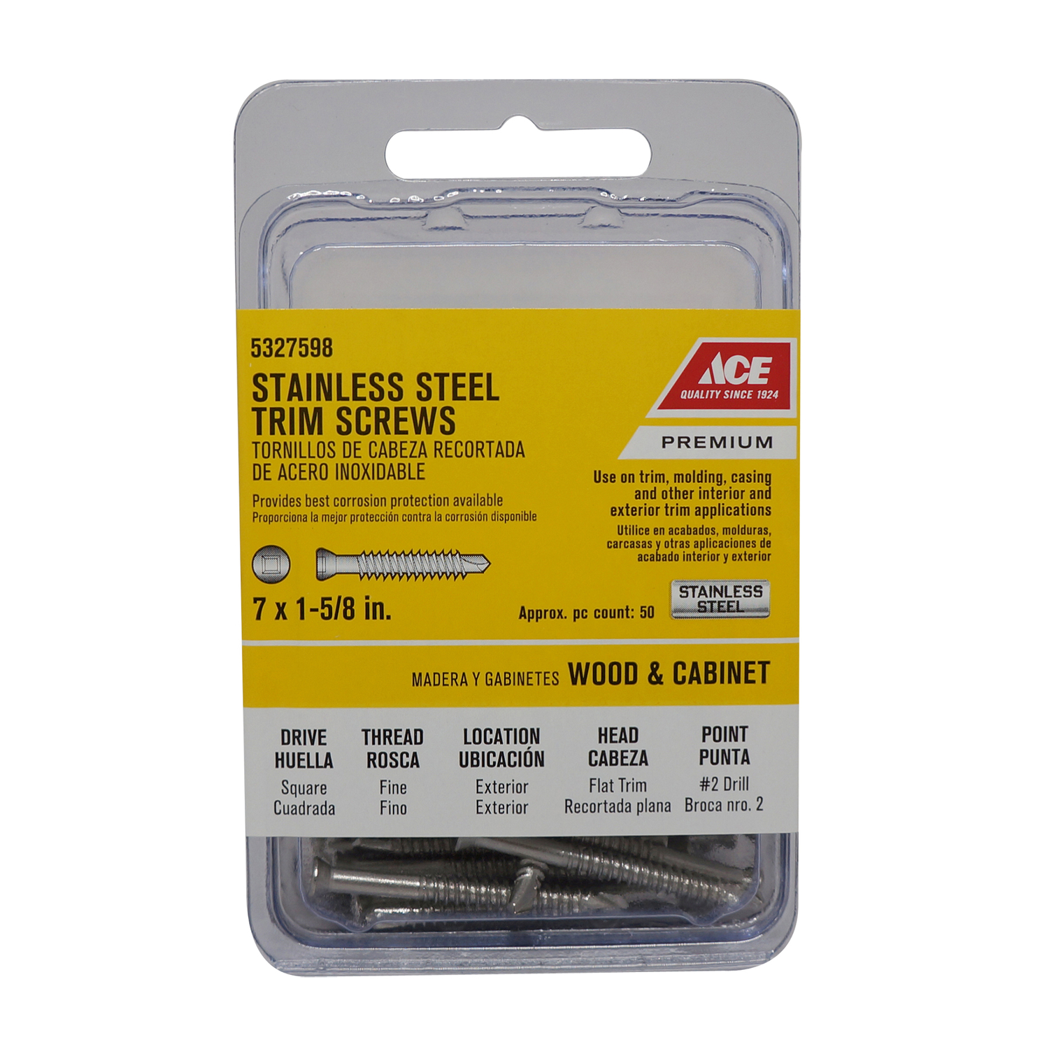 Ace  No. 7   x 1-5/8 in. L Square  Trim Head Stainless Steel  Trim Screw  50 pk