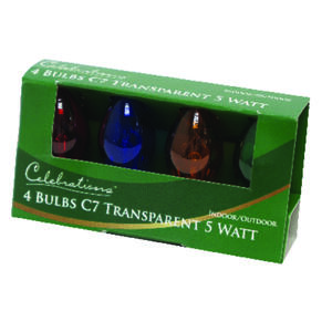 Celebrations  Transparent C7  Incandescent  Replacement Bulb  Multicolored  4 lights
