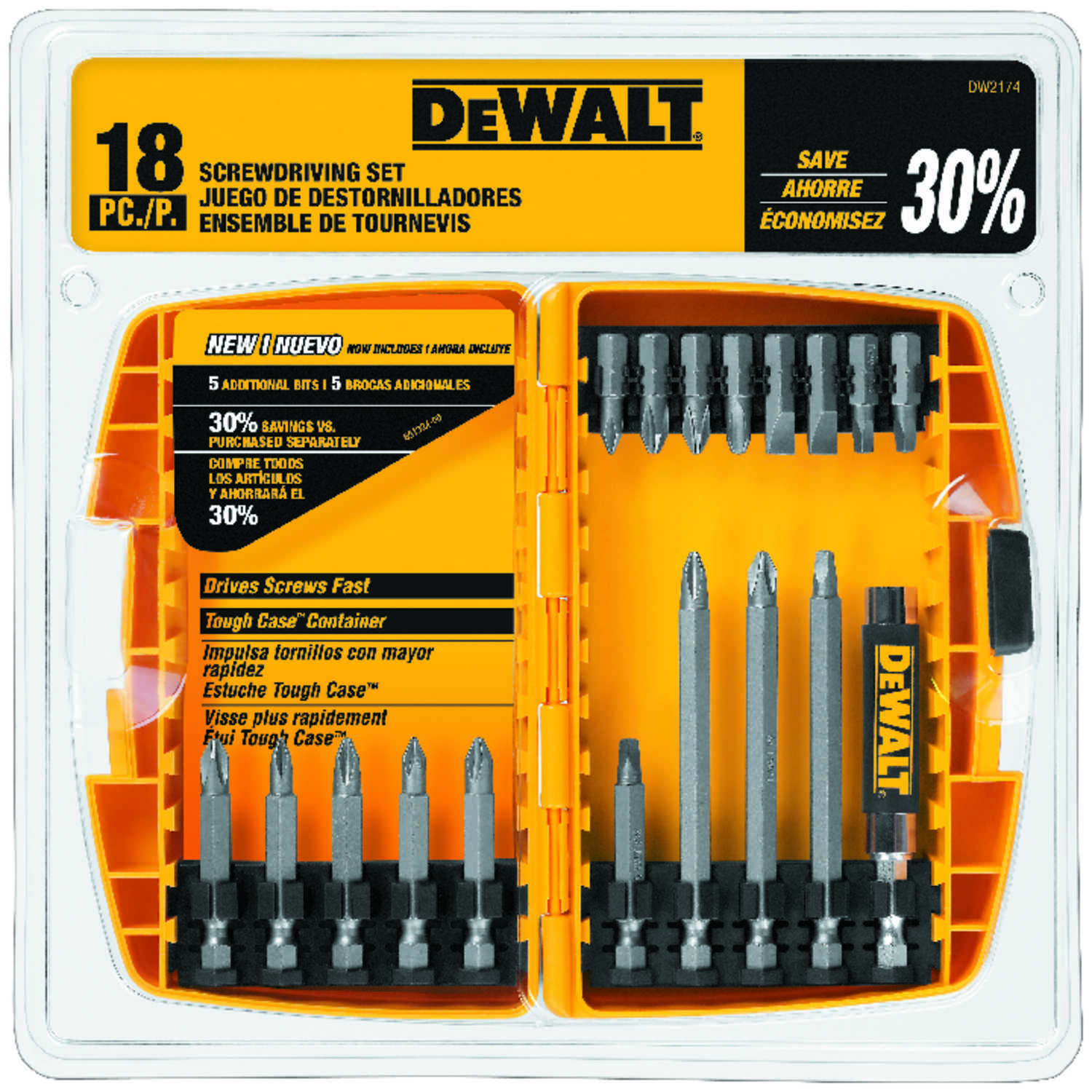 DeWalt  Multi Size in.  1/4 in. Screwdriver Bit  18 pc.