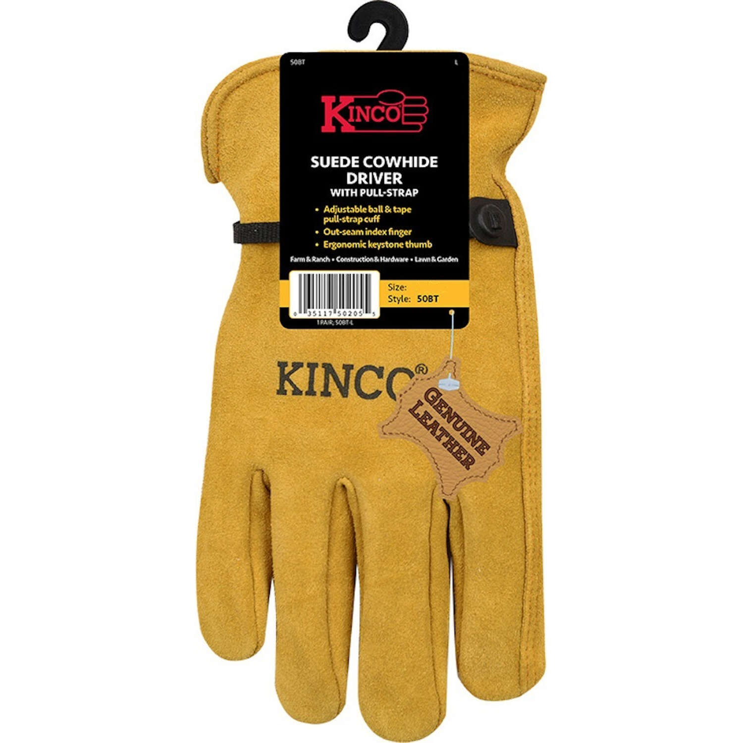 Kinco  Men's  Indoor/Outdoor  Driver Gloves  Gold  M  1 pair