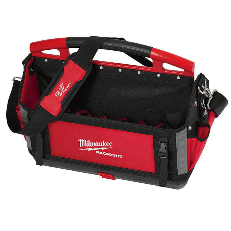Milwaukee  PACKOUT  11 in. W x 17 in. H Polyester  Tool Tote  32 pocket Black/Red  1 pc.