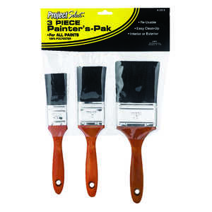 Linzer  Project Select  1 1/2, 2 and 3 in. W Flat  Polyester  Paint Brush Set