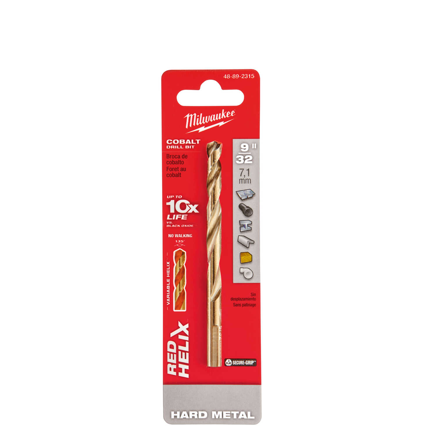 Milwaukee  RED HELIX  9/32 in. Dia. x 4-5/16 in. L Cobalt Steel  Drill Bit  1 pc. THUNDERBOLT  3-Fla