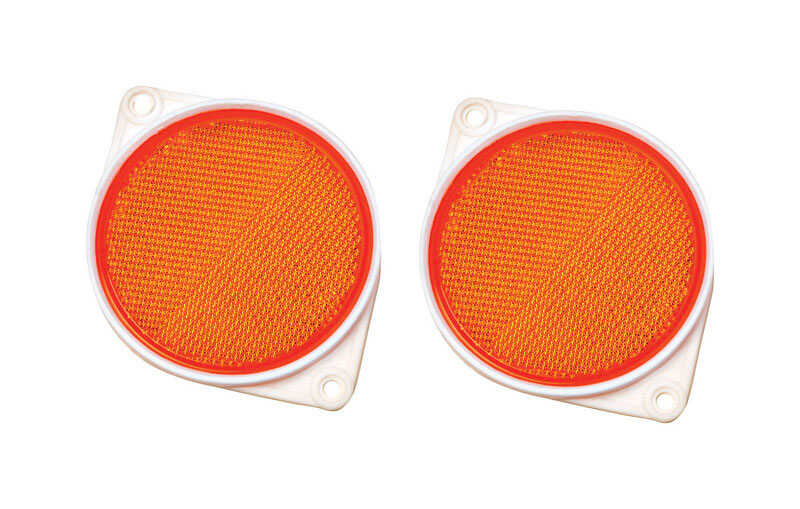 Hy-Ko  8.1 in. Round  Amber  Reflectors  2 pk