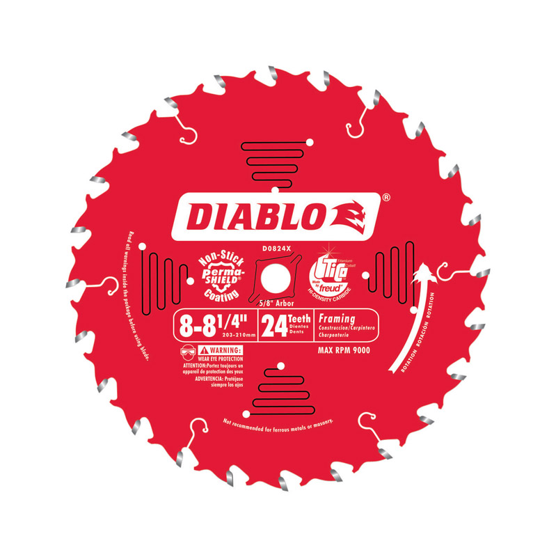 Freud  Diablo  8 in. Dia. x 5/8 in.  x 0.094 in.  Carbide Tip  Diablo  Framing Blade  24 teeth 1 pk