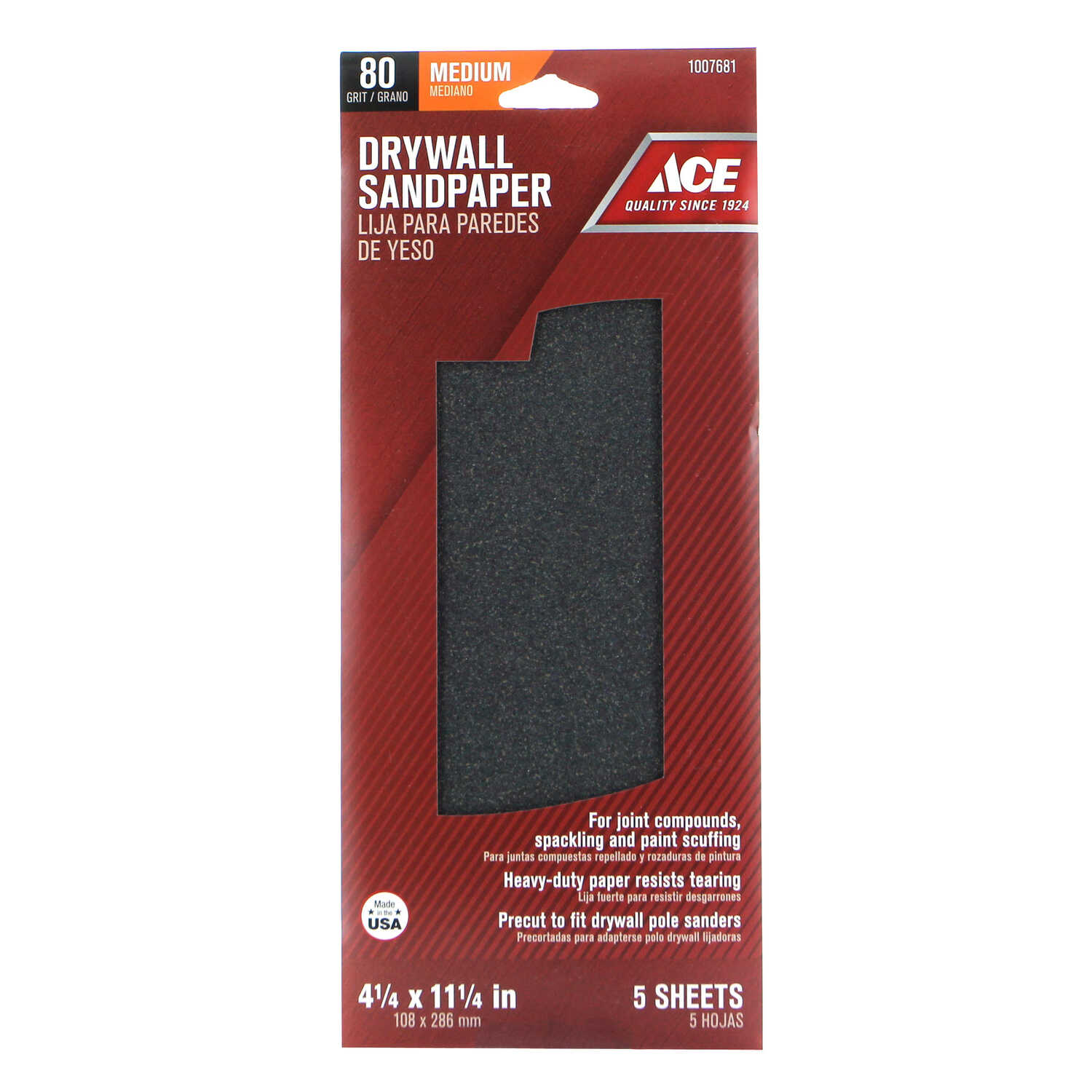 Ace  11-1/4 in. L x 4-1/4 in. W 80 Grit Fine  Silicon Carbide  Drywall Sanding Sheet  5 pk